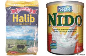 Sachet et boîte de lait en poudre importé et conditionné au Sénégal