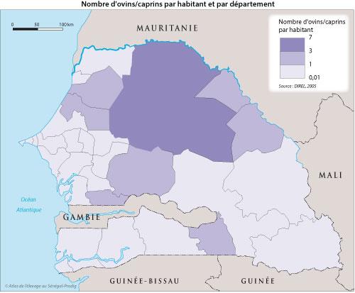Sénégal-Les territoires de l'élevage-Peut-on cartographier le cheptel national ?-Nombre d'ovins/caprins par habitant et par département