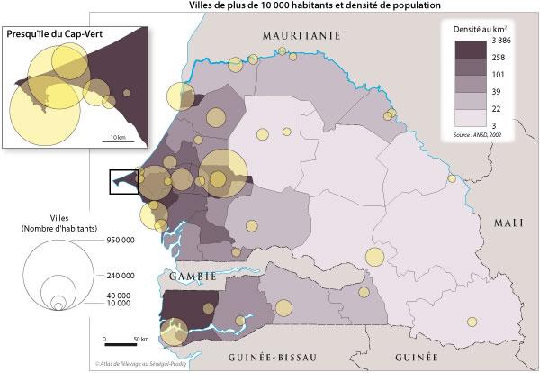 Sénégal-Les territoires de l'élevage-L'élevage et le zonage agro-climatique-Villes de plus de 10 000 habitants et densité de population