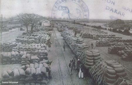 Sénégal-Les territoires de l'élevage-L'élevage et le zonage agro-climatique-Gare de Rufisque : les arachides prêtes pour l'embarquement. Carte postale ancienne (années 1930 ?)