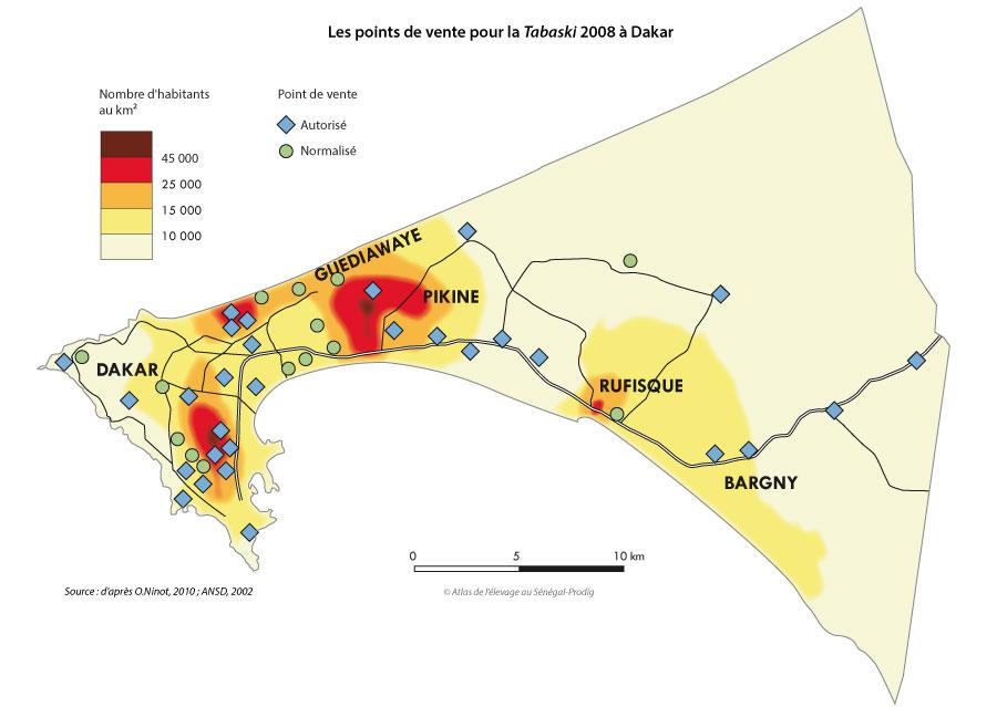 Sénégal-Le commerce de bétail sur pied-La Tabaski, géographie de la fête des moutons-Les points de vente pour la Tabaski 2008 à Dakar