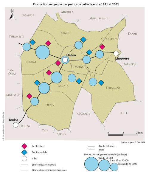 Sénégal-La filière lait, du global au local-Ce qui reste du lait à Dahra-Production moyenne des points de collecte entre 1991 et 2002