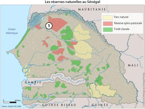 Sénégal-Les territoires de l'élevage-Des tentatives pour territorialiser l'élevage-Les réserves naturelles au Sénégal