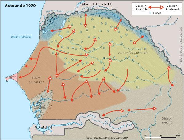Sénégal-Les territoires de l'élevage-Tranhumances d'hier et d'aujourd'hui-Autour de 1970