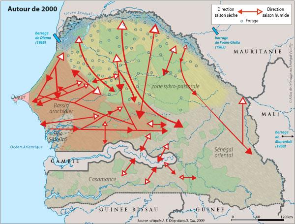 Sénégal-Les territoires de l'élevage-Tranhumances d'hier et d'aujourd'hui-Autour de 2000